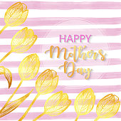 istock Happy Mother's Day, Hand Drawn Gold Tulip Bouquet Greeting Card Background. Hand Painted Clip Art Design Element for Labels, Business Cards, Flyers, Wedding Invitation Card. 1222394931
