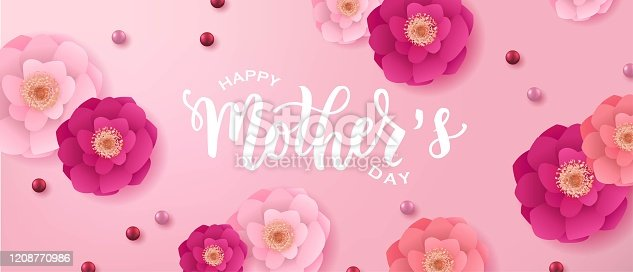 istock Happy Mother's day hand lettering text. Good for card, poster, banner, invitation, postcard, icon. Vector illustration. Lettering typography. 1208770986