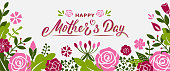 Happy Mother's day hand lettering text with flowers and branches. Banner template for mother's day. Vector illustration for postcard, greeting card, newsletter, brochures, invitation, poster, banner.