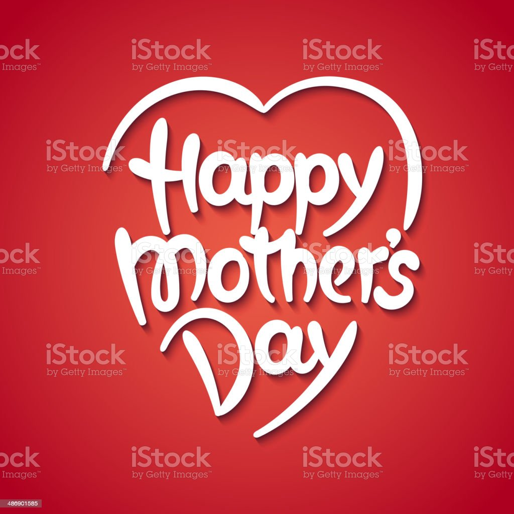 'Happy mother's day' hand-drawn lettering vector art illustration
