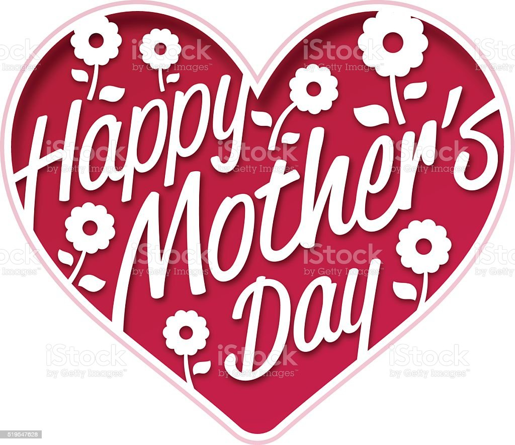 Happy Mother's Day Heart vector art illustration
