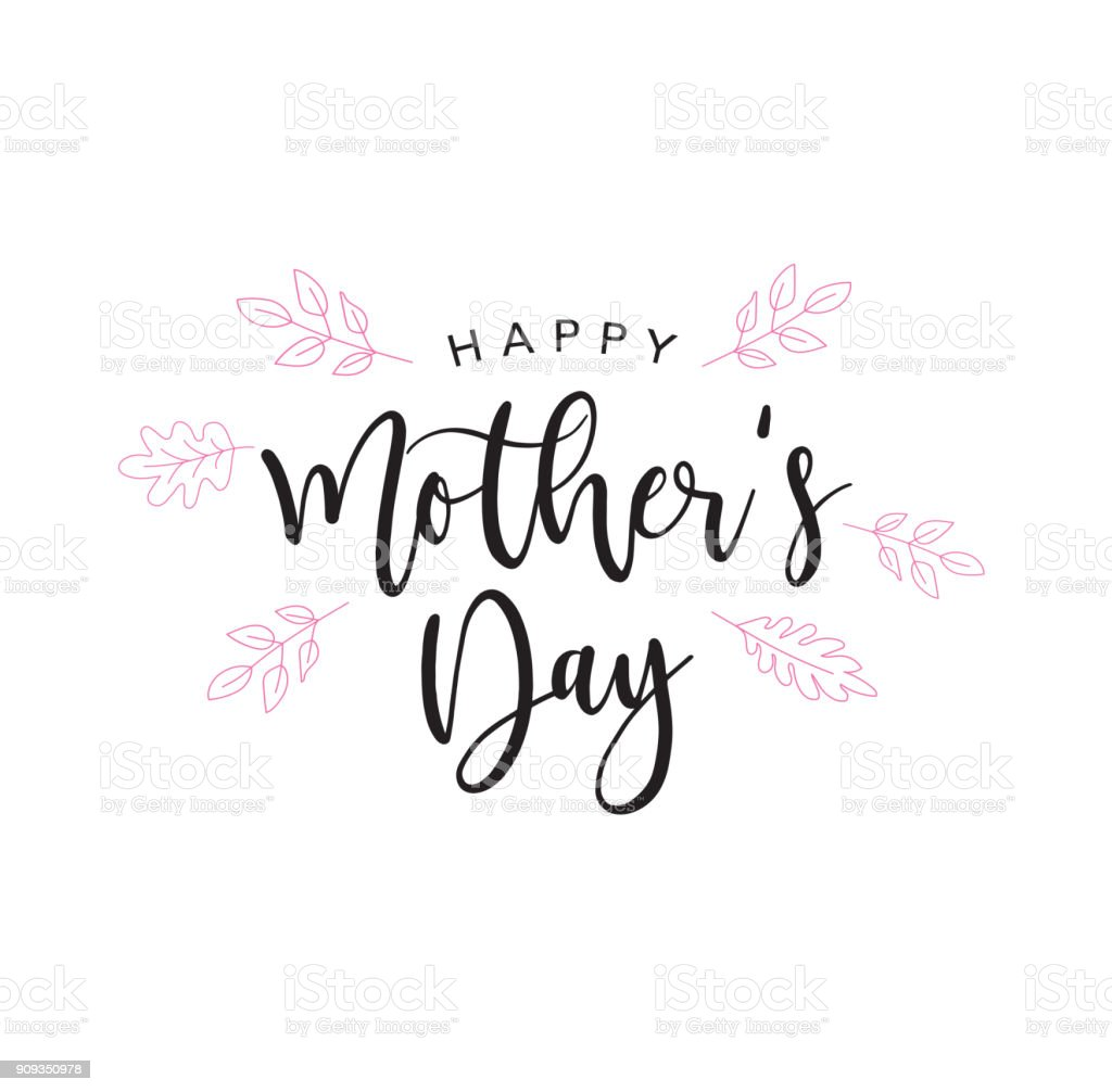 Happy Mother's Day Holiday Handwriting vector art illustration