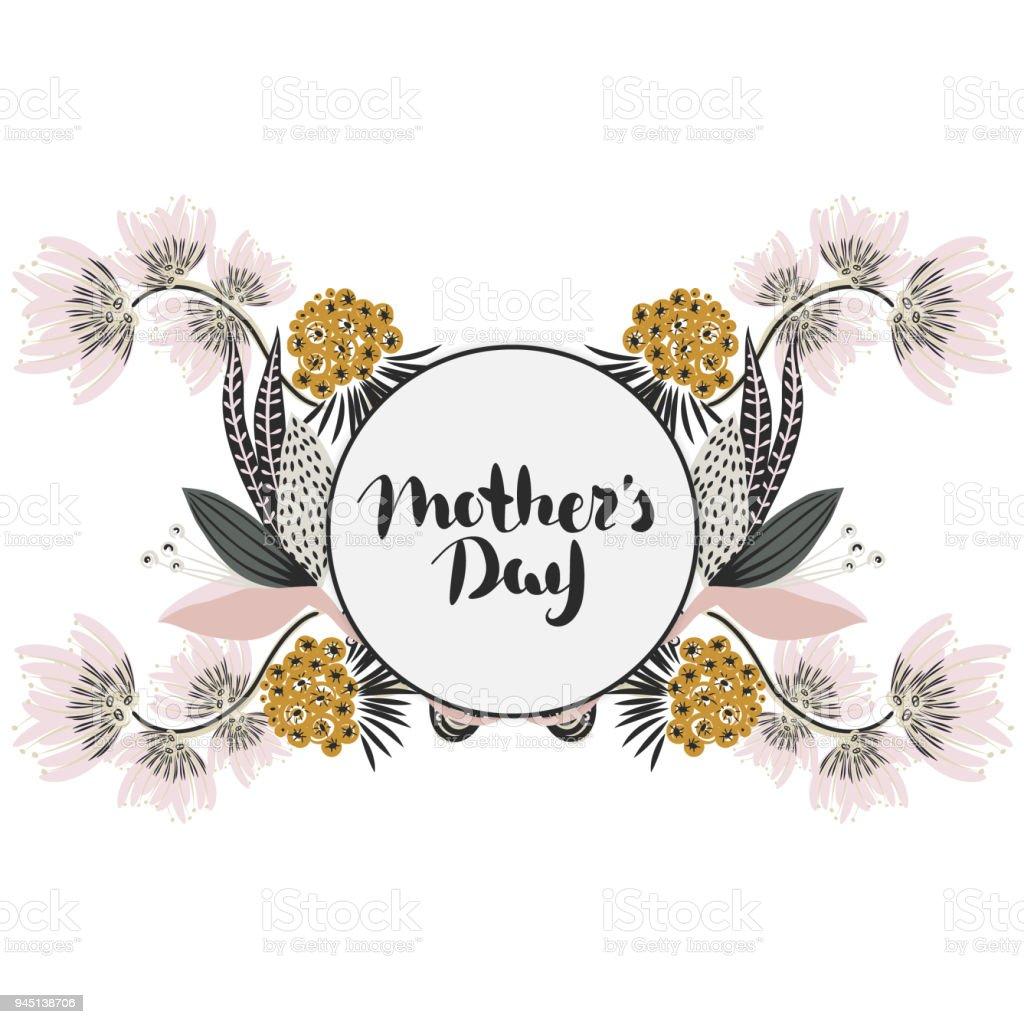 Día De Las Madres Felices Fiesta De Mamá Rotulación Con Decoración ...