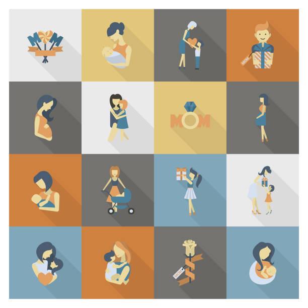 glückliche mütter tag symbole - elternhochzeitsgeschenke stock-grafiken, -clipart, -cartoons und -symbole