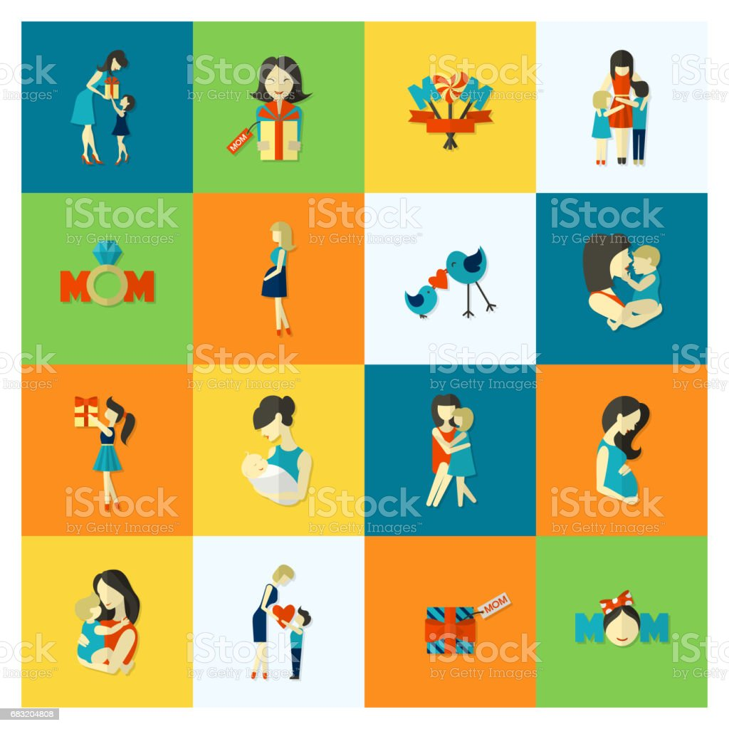Glückliche Mütter Tag Symbole  Lizenzfreies glückliche mütter tag symbole stock vektor art und mehr bilder von baby