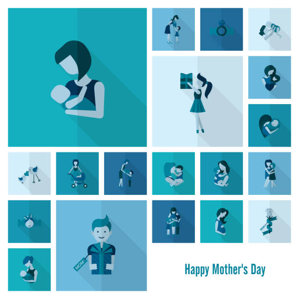 Happy Mothers Day Icons vector art illustration