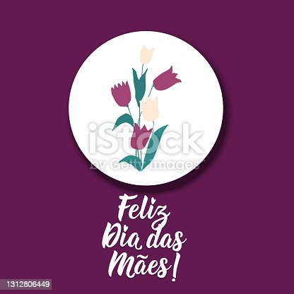 istock Happy Mother's Day in Portuguese. Lettering. Ink illustration. Modern brush calligraphy. Feliz dia das Maes. 1312806449