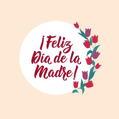 Happy Mother's Day - in Spanish. Lettering. Ink illustration. Modern brush calligraphy. Feliz Dia de la Madre