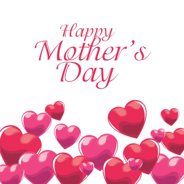happy mothers day invitation pink balloons decoration vector art illustration