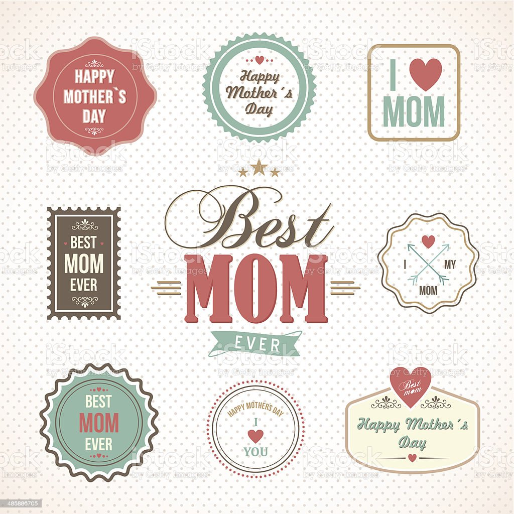 Happy Mothers Day labels and icons set vector art illustration