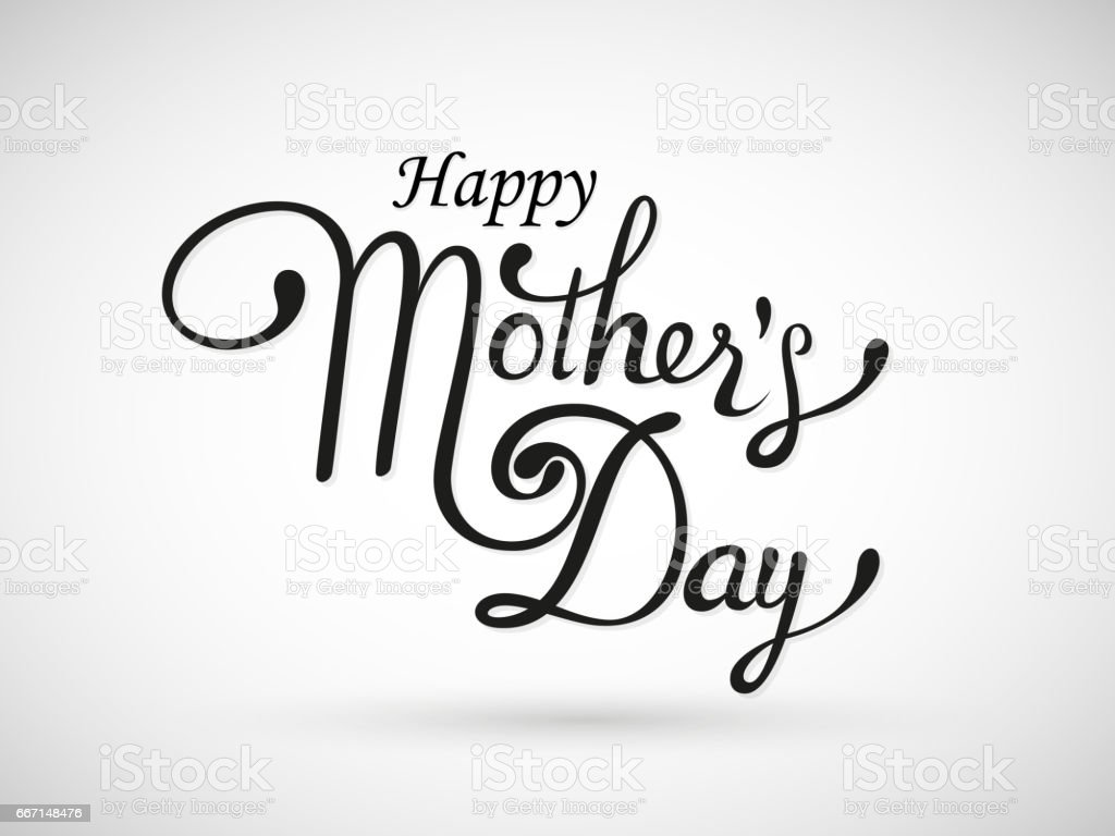 Happy mothers day lattering black calligraphy inscription vector