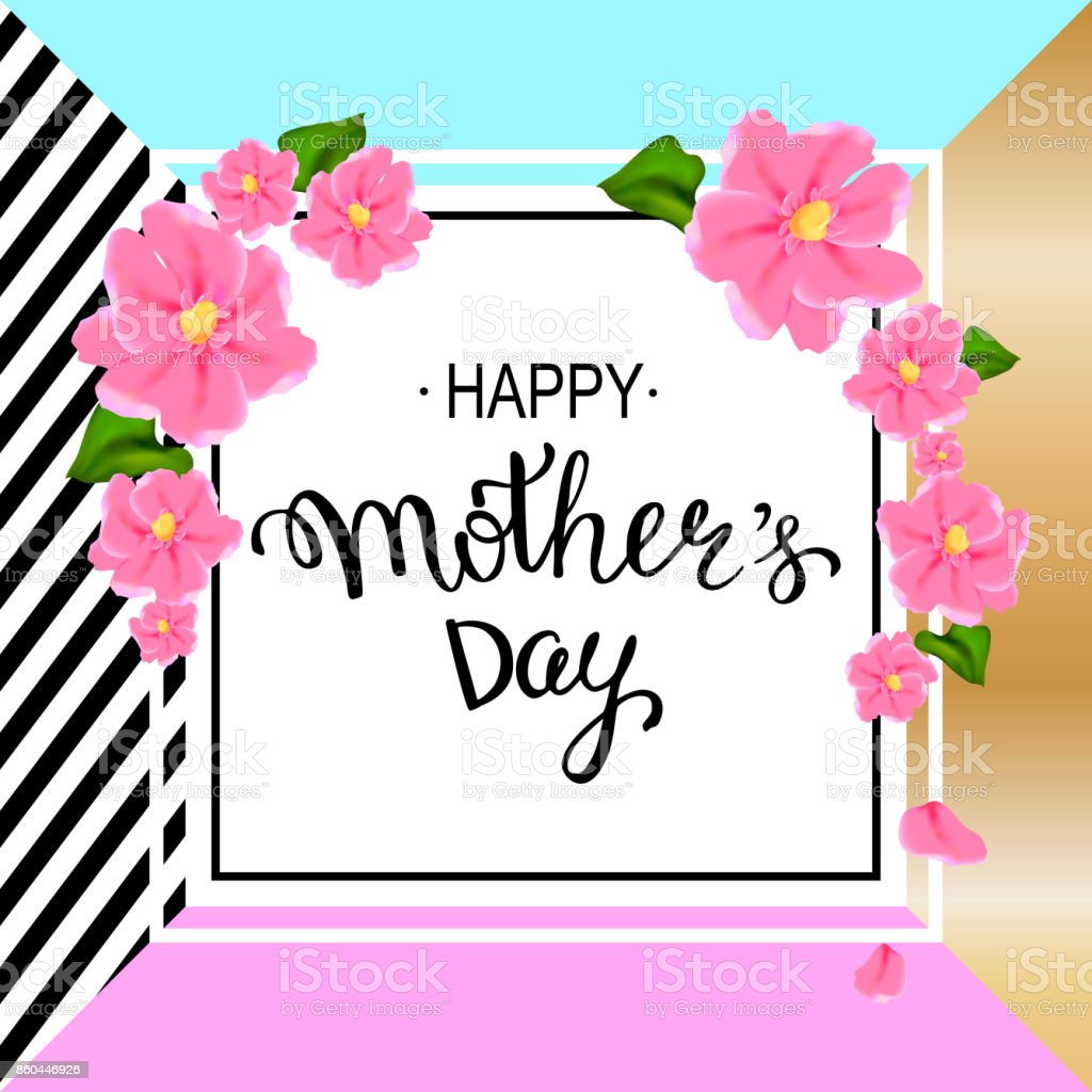 Happy Mothers Day Layout Design With Pink Flowers Hand Lettering ...
