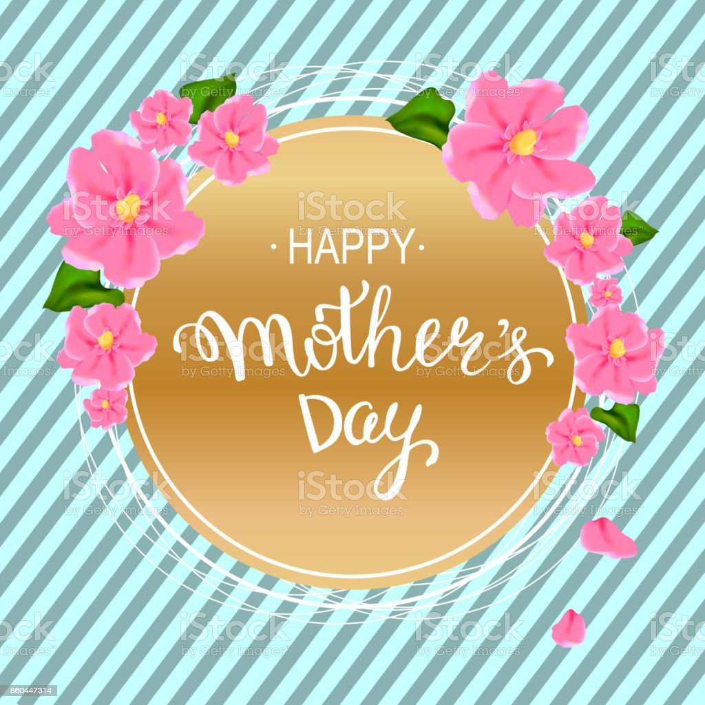 Happy mothers day layout design with pink flowers hand lettering happy mothers day layout design with pink flowers hand lettering striped background vector mightylinksfo