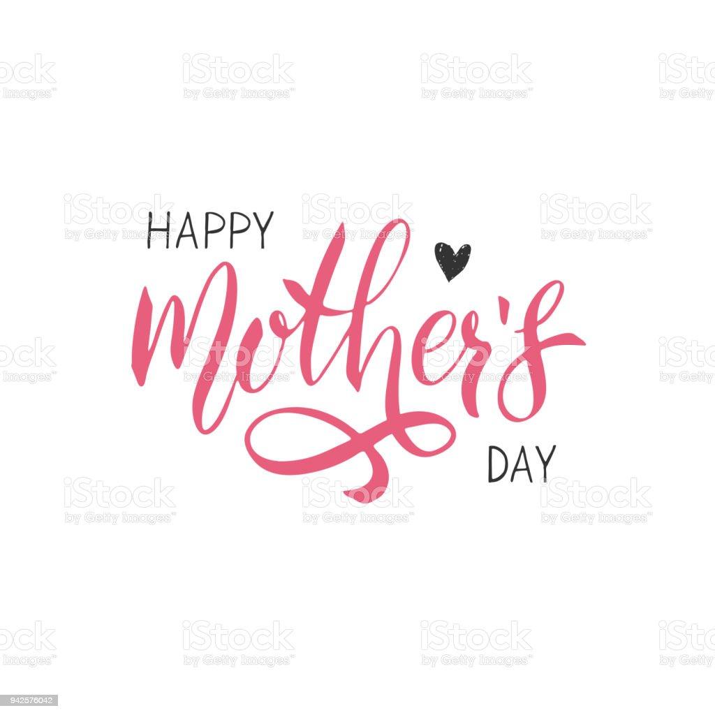 Happy Mothers Day Schriftzug. Handschriftliche Typografie. Kalligraphie-Text. – Vektorgrafik