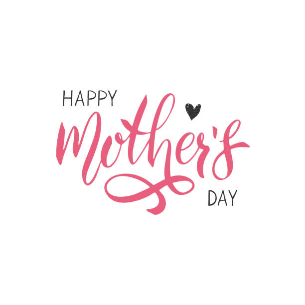 ilustraciones, imágenes clip art, dibujos animados e iconos de stock de letra de día de las madres felices. tipografía manuscrita. texto de la caligrafía. - día de la madre