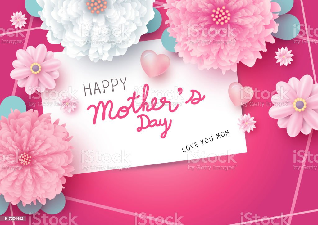 happy mothers day message on white paper card and flowers with heart on pink background vector