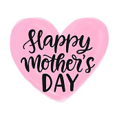 istock Happy Mothers Day modern calligraphy watercolor heart inscription, isolated on white. Hand written lettering for holiday poster, greeting card. Typography design. Vector illustration 1305060799