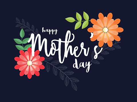 Happy Mother's Day on black background decorated with colorful beautiful flower. can be used for greeting card. clipart