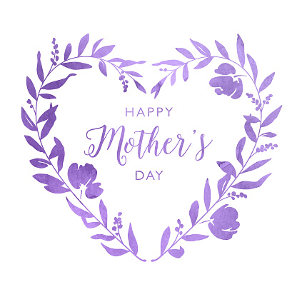 Happy Mother's Day Ornate Watercolour Heart Floral Wreath