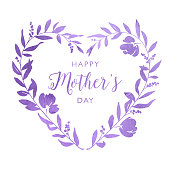 istock Happy Mother's Day Ornate Watercolour Heart Floral Wreath 1226539894