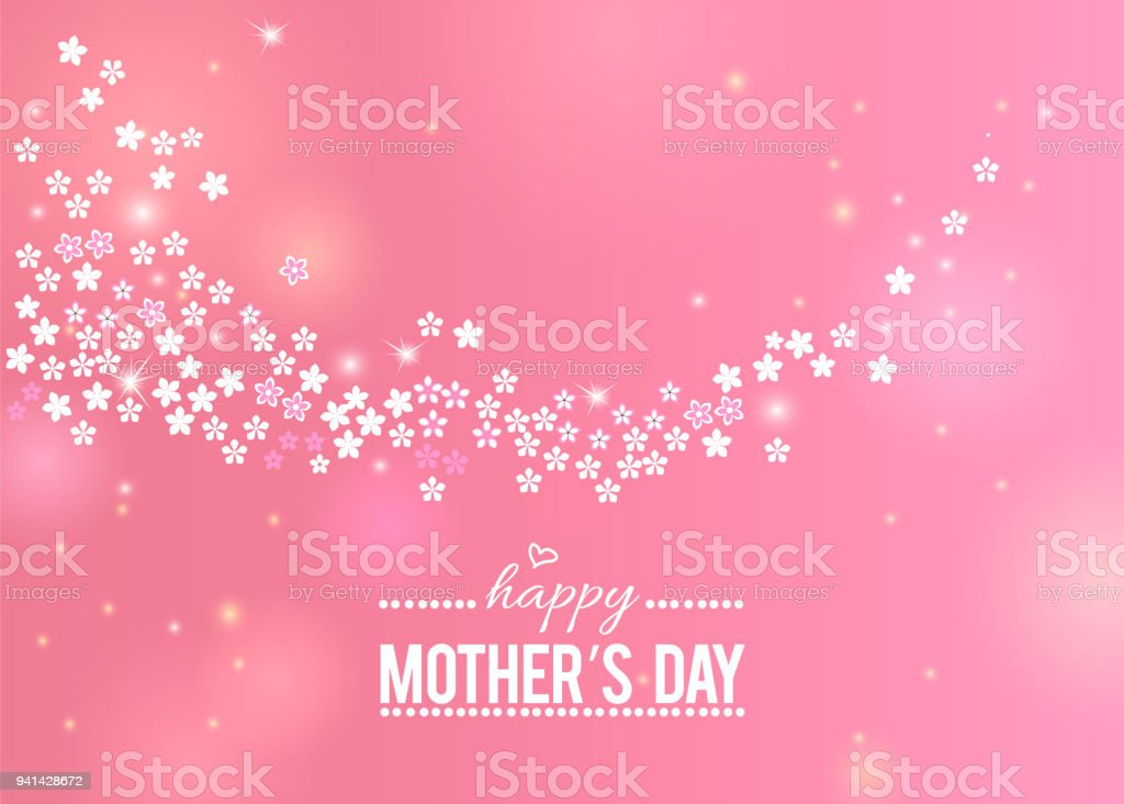 Happy Mother's Day pink greeting card with white flowers border vector art illustration