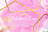 Happy Mother's Day, Pink Hydrangea Flower with Gold Lines, Abstract Background. Gold Shiny Grunge Texture. Gold Foil Brush Stroke Clip Art. Metallic Golden Texture Design Element for Greeting Cards, Advertising, Banners, Leaflets and Flyers, Abstract Background.
