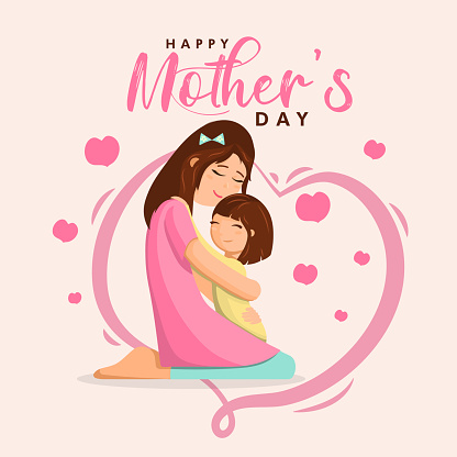 Happy Mother's Day poster, Mom and child love illustration, mothers care wallpaper vector