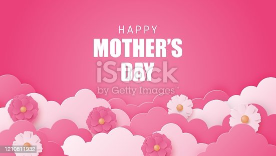istock Happy Mother's day poster or banner with flower and cloud on pink in paper cut style. Shopping promotion template for mother's day. Digital craft paper art. 1210811932