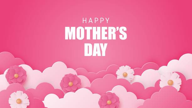 Happy Mother's day poster or banner with flower and cloud on pink in paper cut style. Shopping promotion template for mother's day. Digital craft paper art. Happy Mother's day poster or banner with flower and cloud on pink in paper cut style. Shopping promotion template for mother's day. Digital craft paper art. mothers day stock illustrations