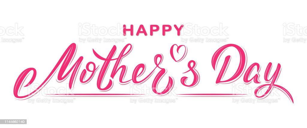 Happy Mother\'s day poster with handwritten lettering text, isolated...