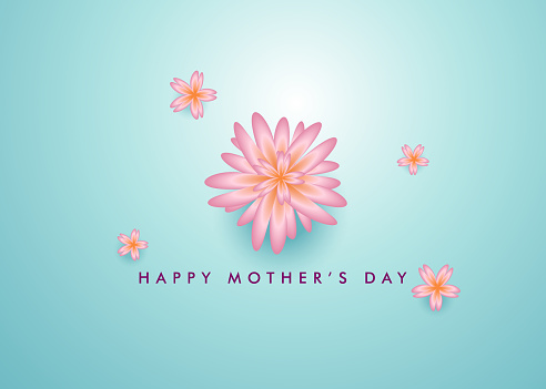Happy Mother's Day realistic flower poster vector banner, mothers day greeting wallpaper background design