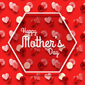 Illustration of Happy Mother's Day red background