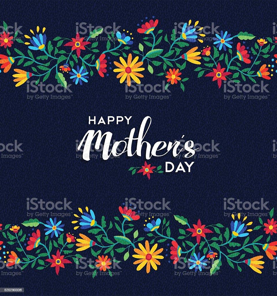 Glücklich Muttertag mit Blumen Muster Hintergrund Retro – Vektorgrafik