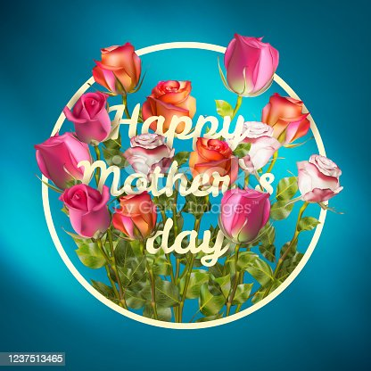 Happy Mothers Day roses design EPS 10 vector royalty free stock illustration for greeting card, ad, promotion, poster, flier, blog, article, social media, marketing