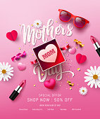 Happy Mother's Day Sale Poster or banner with gift box,lipstick,sweet heart and lovely items.Happy Mother's Day.Trendy Design Template for Mother's Day and love concept.Vector illustration EPS10