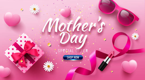 Happy Mother's Day Sale Poster or banner with love gift box and sweet heart.Happy Mother's Day.Trendy Design Template for Mother's Day and love concept.Vector illustration EPS10 vector art illustration