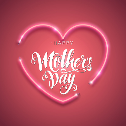 Happy Mother's Day script lettering inscription. Hand lettering card. Modern calligraphy for Mom's Day. Vector neon sign. Abstract background with bright pink vector neon heart.