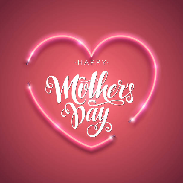 happy mother's day script lettering inscription. hand lettering card. modern calligraphy for mom's day. vector neon sign. abstract background with bright pink vector neon heart. - mothers day stock illustrations