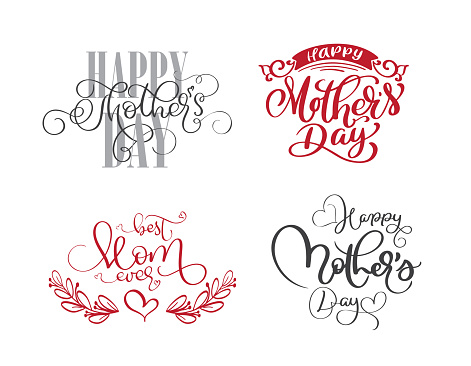 Happy Mothers Day Set Hand Drawn Lettering Quotes Vector