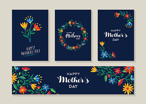 happy mothers day set of flower labels and cards - mothers day stock illustrations