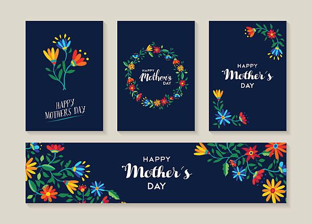 ilustraciones, imágenes clip art, dibujos animados e iconos de stock de feliz día de la madre conjunto de tarjetas y etiquetas de flor - día de la madre