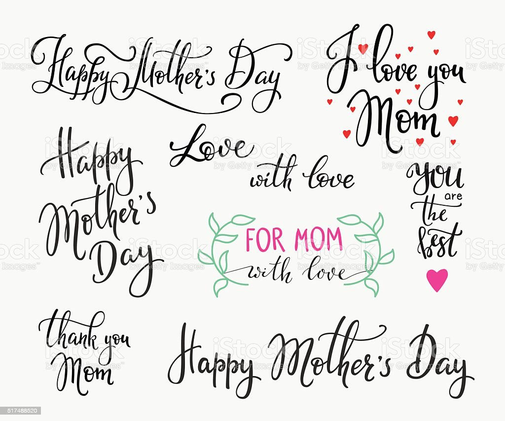 Happy Mothers day simple lettering vector art illustration