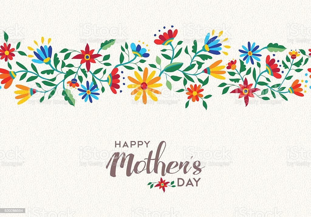 Happy mothers day spring flower pattern background vector art illustration