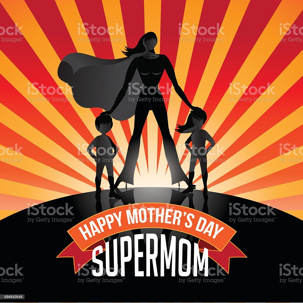 Happy Mothers Day Supermom burst vector art illustration