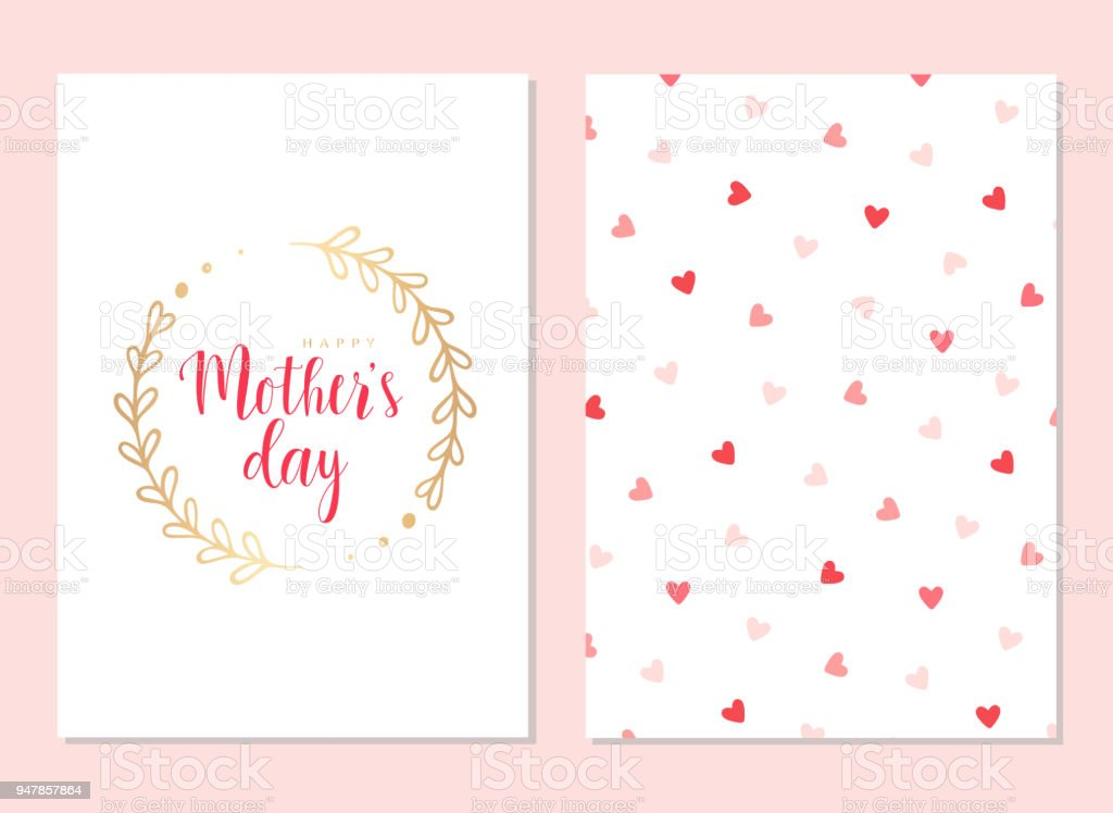 Happy Mothers Day Template Cards Set Stock Vector Art & More Images ...