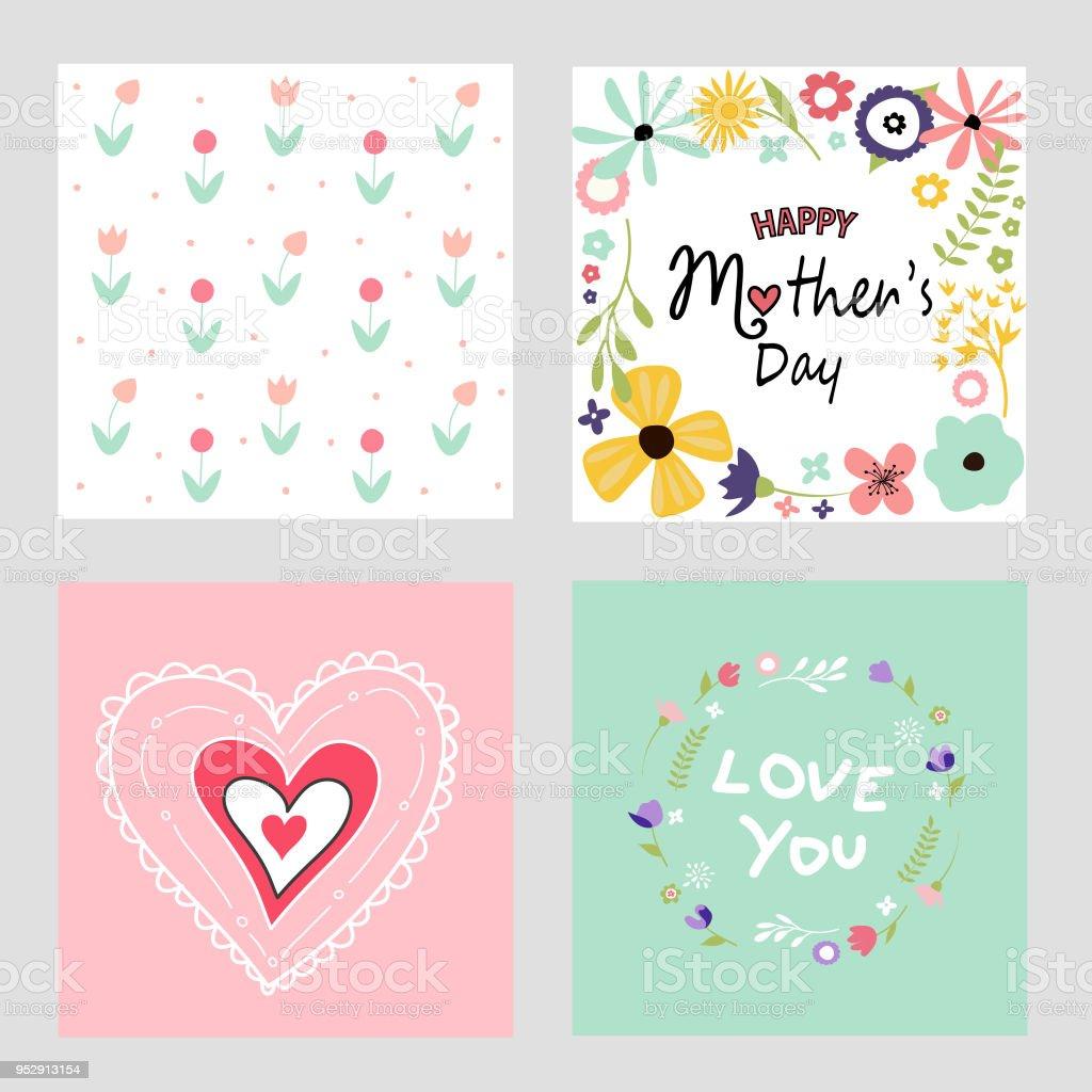 Glückliche Mutter Tag Vorlage Karten Set Stock Vektor Art und mehr ...