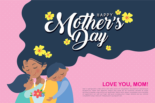 Happy Mother's Day template design - Cartoon mom together with children. clipart