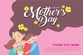 Happy Mother's Day template design or copy space. Hand drawn mother, son & daughter with flowers on pink polka dot background in flat vector illustration. Cartoon mom together with children.