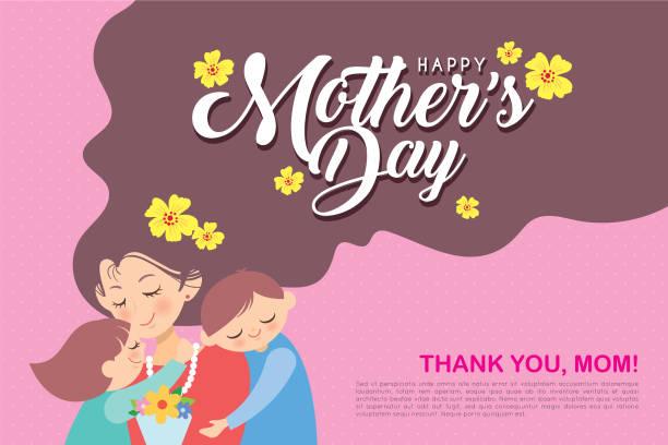 ilustraciones, imágenes clip art, dibujos animados e iconos de stock de diseño de plantilla del día de la madre feliz-mano madre, hijo & hija con flores en el fondo de lunares rosados - cabello largo