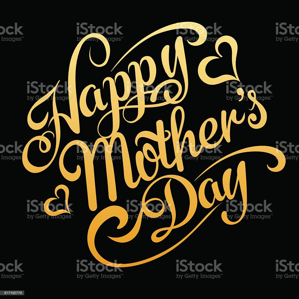 Happy Mothers Day, text, vector vector art illustration